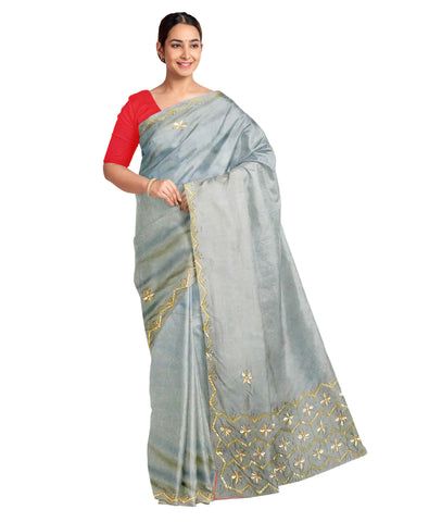 Grey Designer Wedding Partywear Silk Zari Hand Embroidery Work Bridal Saree Sari With Blouse Piece F505