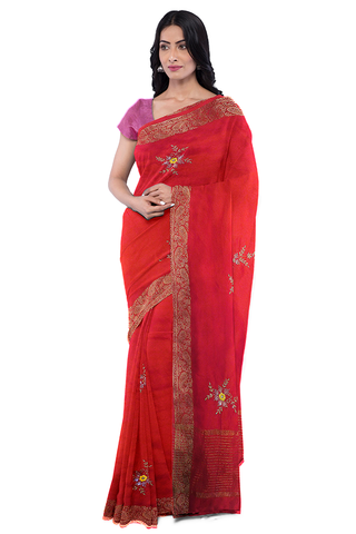 Red Designer Wedding Partywear Georgette Zari Hand Embroidery Work Bridal Saree Sari With Blouse Piece F564