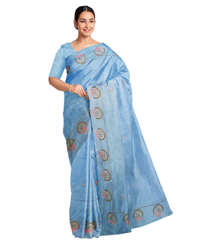 Blue Designer Wedding Partywear Silk Zari Hand Embroidery Work Bridal Saree Sari With Blouse Piece F565