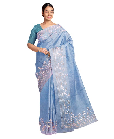 Blue Designer Wedding Partywear Silk Zari Hand Embroidery Work Bridal Saree Sari With Blouse Piece F566