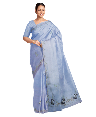 Blue Designer Wedding Partywear Silk Zari Hand Embroidery Work Bridal Saree Sari With Blouse Piece F567