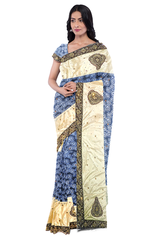 Cream Blue Designer Wedding Partywear Georgette Zari Stone Hand Embroidery Work Bridal Saree Sari With Blouse Piece F566