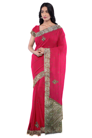 Pink Designer Wedding Partywear Georgette Zari Stone Beads Hand Embroidery Work Bridal Saree Sari With Blouse Piece F573