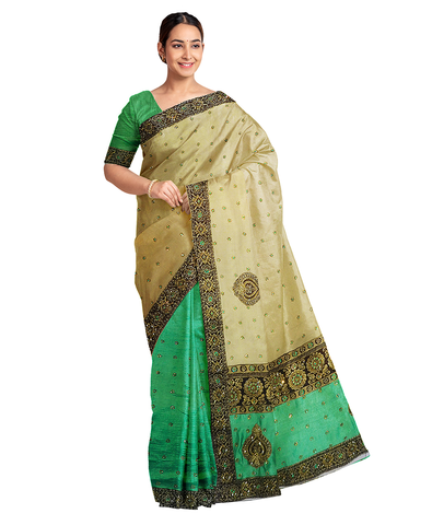 Golden Green Designer Wedding Partywear Silk Zari Stone Hand Embroidery Work Bridal Saree Sari With Blouse Piece F580