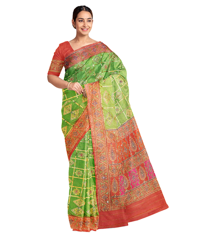 Green Designer Wedding Partywear Silk Thread Work Printed Hand Embroidery Work Bridal Saree Sari With Blouse Piece F581