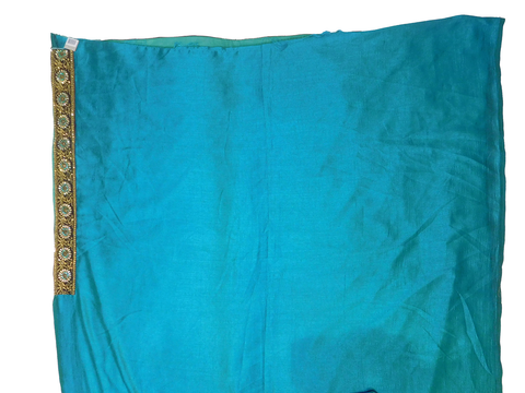 Turquoise Blue Designer Wedding Partywear Silk Zari Stone Hand Embroidery Work Bridal Saree Sari With Blouse Piece F586