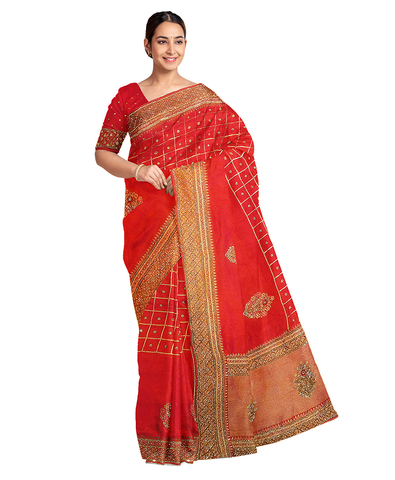 Red Designer Wedding Partywear Silk Zari Stone Beads Hand Embroidery Work Bridal Saree Sari With Blouse Piece F592