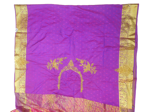 Pink Violet Designer Wedding Partywear Silk Zari Thread Work Stone Hand Embroidery Work Bridal Saree Sari With Blouse Piece F594