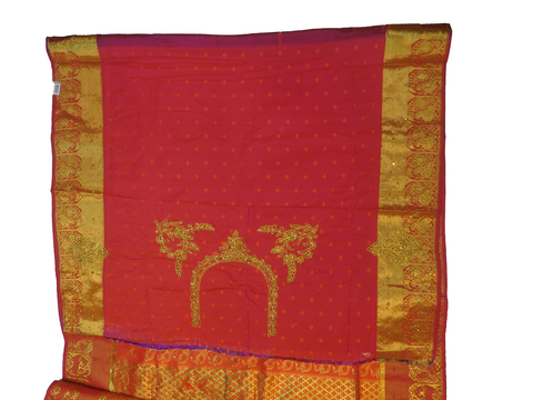 Golden Red Designer Wedding Partywear Silk Zari Thread Work Stone Hand Embroidery Work Bridal Saree Sari With Blouse Piece F595