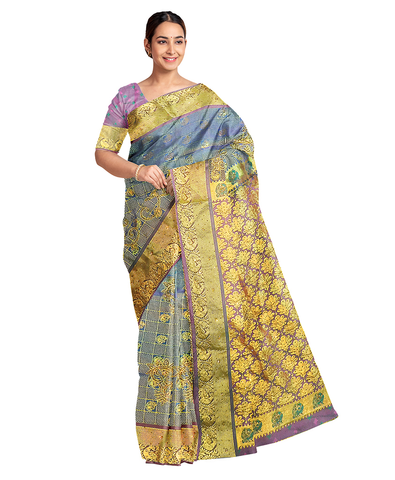 Golden Blue Designer Wedding Partywear Silk Zari Thread Work Stone Hand Embroidery Work Bridal Saree Sari With Blouse Piece F596