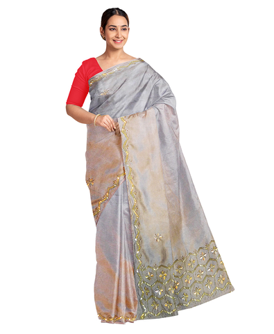 Grey Designer Wedding Partywear Silk Cutdana Beads Hand Embroidery Work Bridal Saree Sari With Blouse Piece F598