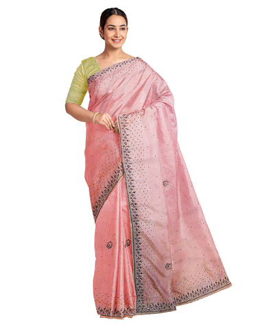 Pink Designer Wedding Partywear Silk Stone Beads Hand Embroidery Work Bridal Saree Sari With Blouse Piece F600