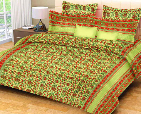Green Pure Cotton Double Bed Printed Bedsheet