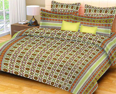 Light Green Pure Cotton Double Bed Printed Bedsheet
