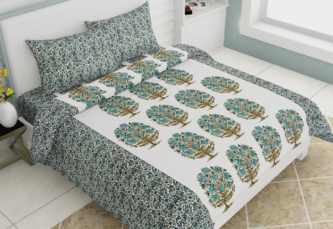 White Pure Cotton Double Bed Printed Bedsheet