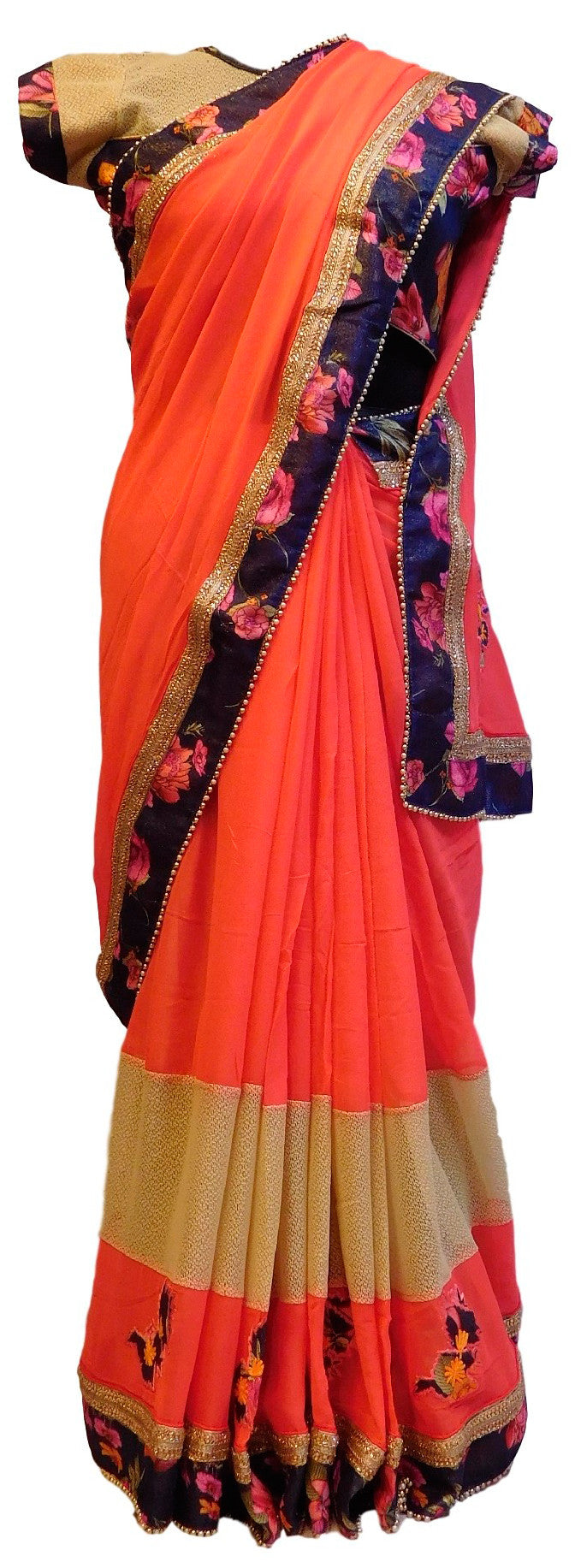 Gajari Designer Georgette (Viscos) Floral Print Border Hand Embroidery Work Saree Sari With Stylish Blouse