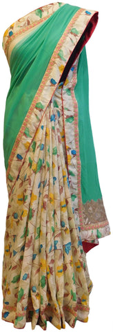 Green Cream Designer Georgette & Silk Saree