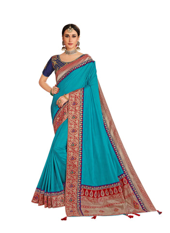 Blue Poly Silk Embroidered Jacquard Pallu Fancy Designer Saree Sari