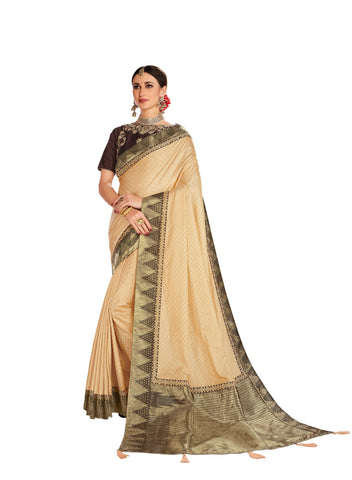 Gold Poly Silk Embroidered Jacquard Pallu Fancy Designer Saree Sari