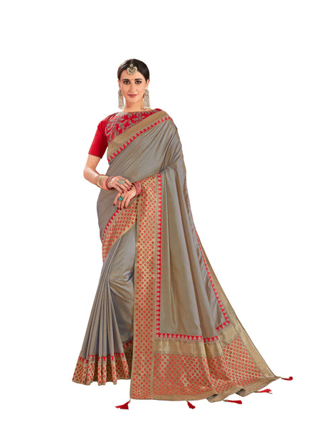 Beige Poly Silk Embroidered Jacquard Pallu Fancy Designer Saree Sari
