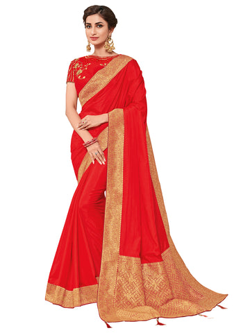 Red & Gold Silk Fabrics Heavy Stone Design Silk Art Saree Sari