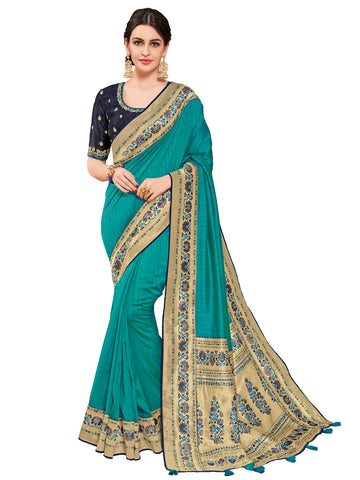 Cyan Two-Tone Silk Fabrics Heavy Stone Design Silk Art Saree Sari