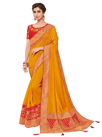 Yellow Two-Tone Silk Fabrics Heavy Stone Design Silk Art Saree Sari