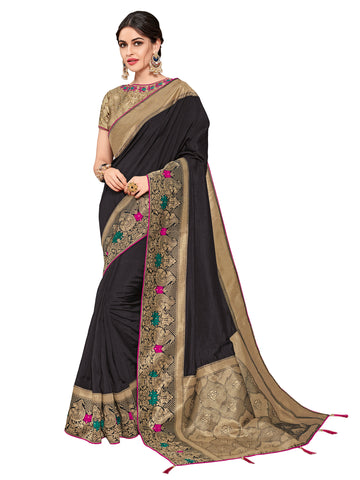 Black & Golden Silk Fabrics Heavy Stone Design Silk Art Saree Sari