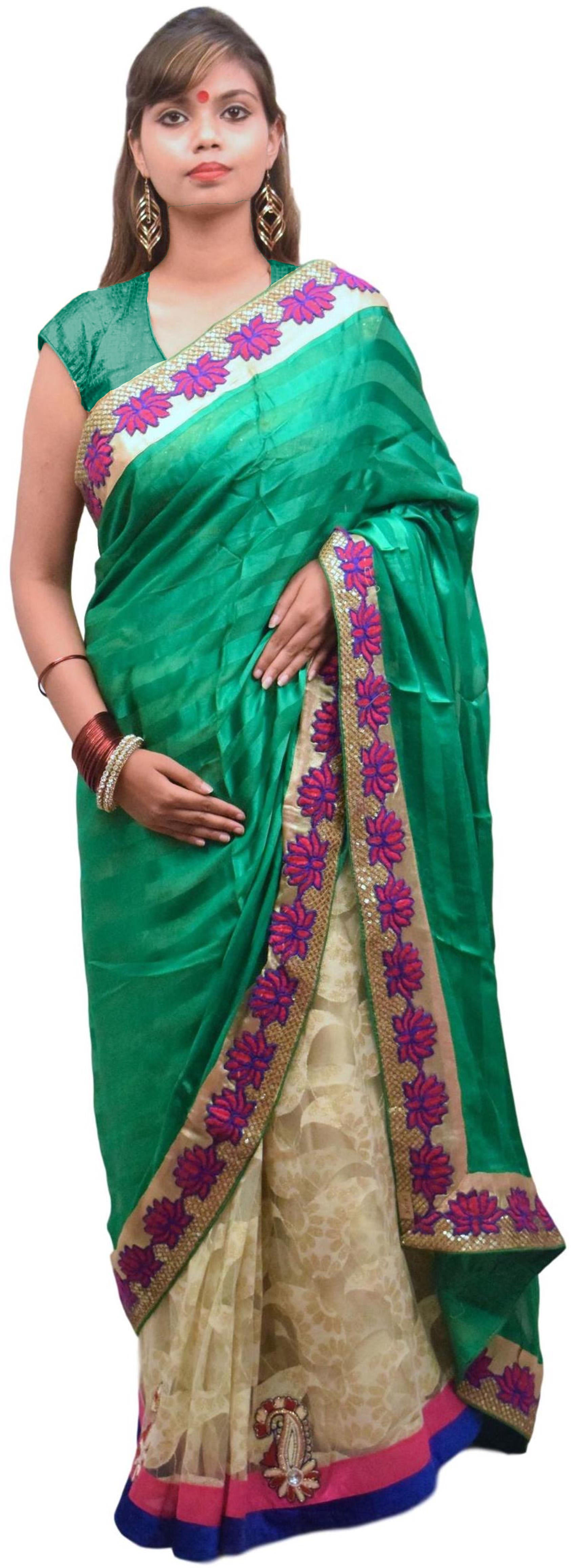 Green & Cream Designer Crep & Net Hand Embroidery Stone Bullion Sequence Zari Thread Beads Work Saree Sari