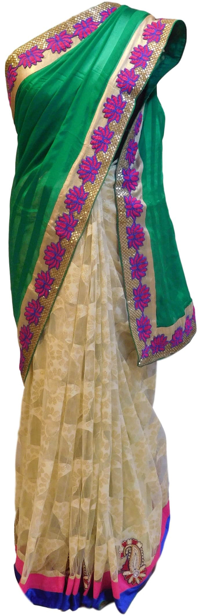 Green & Cream Designer Crep & Net Saree Sari
