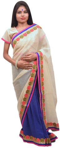 Cream Blue Designer Net & Georgette (Viscos) Thread Zari Sequence Saree Sari With Stylish Blouse