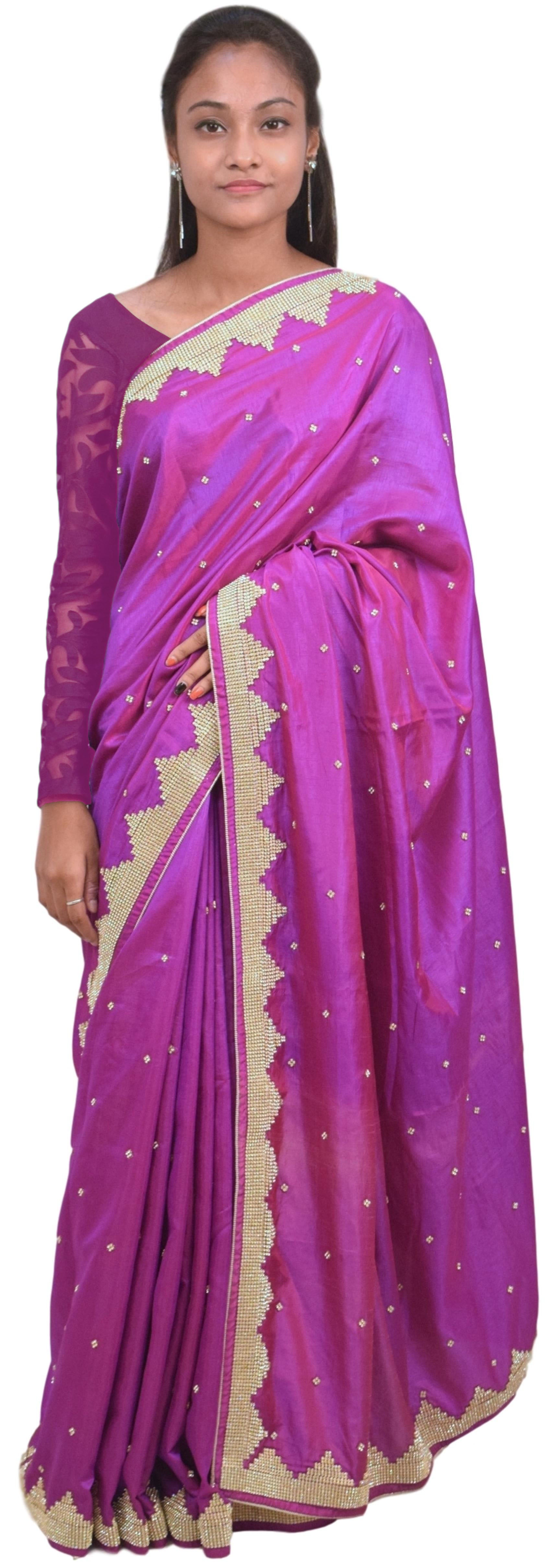 Violet Designer Silk Party Wear Hand Embroidery Zari Stone Thread Work Saree Sari