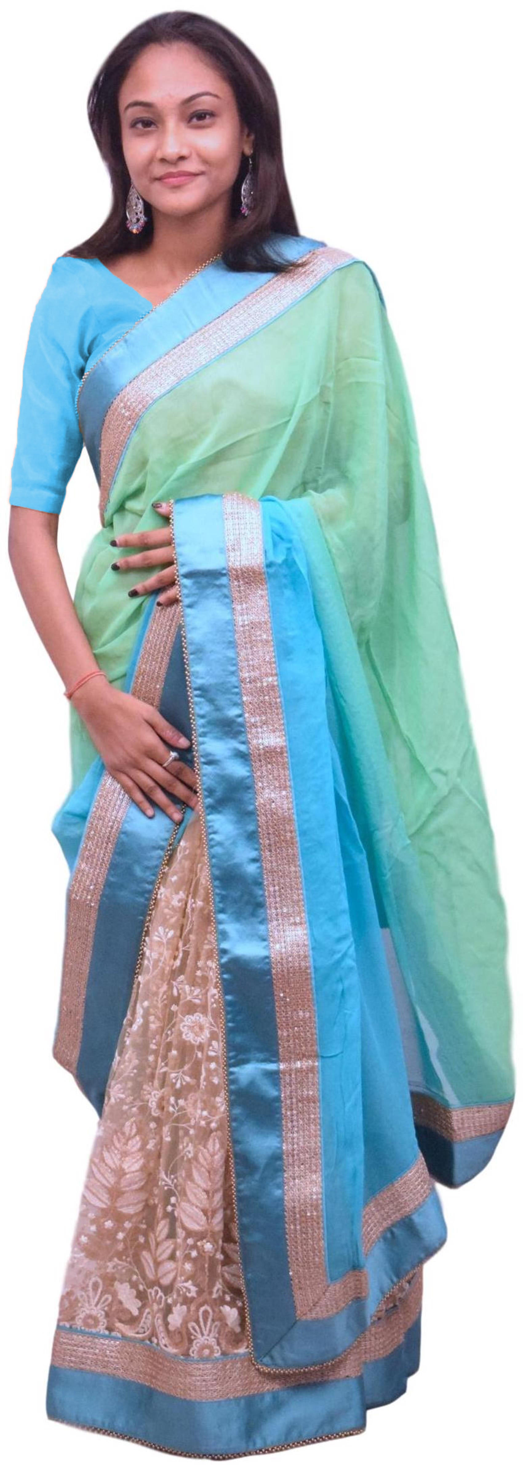 Turquoise & Cream Designer Georgette & Net Party Wear Hand Embroidery Zari Stone Sequence Dabka Thread Work Saree Sari