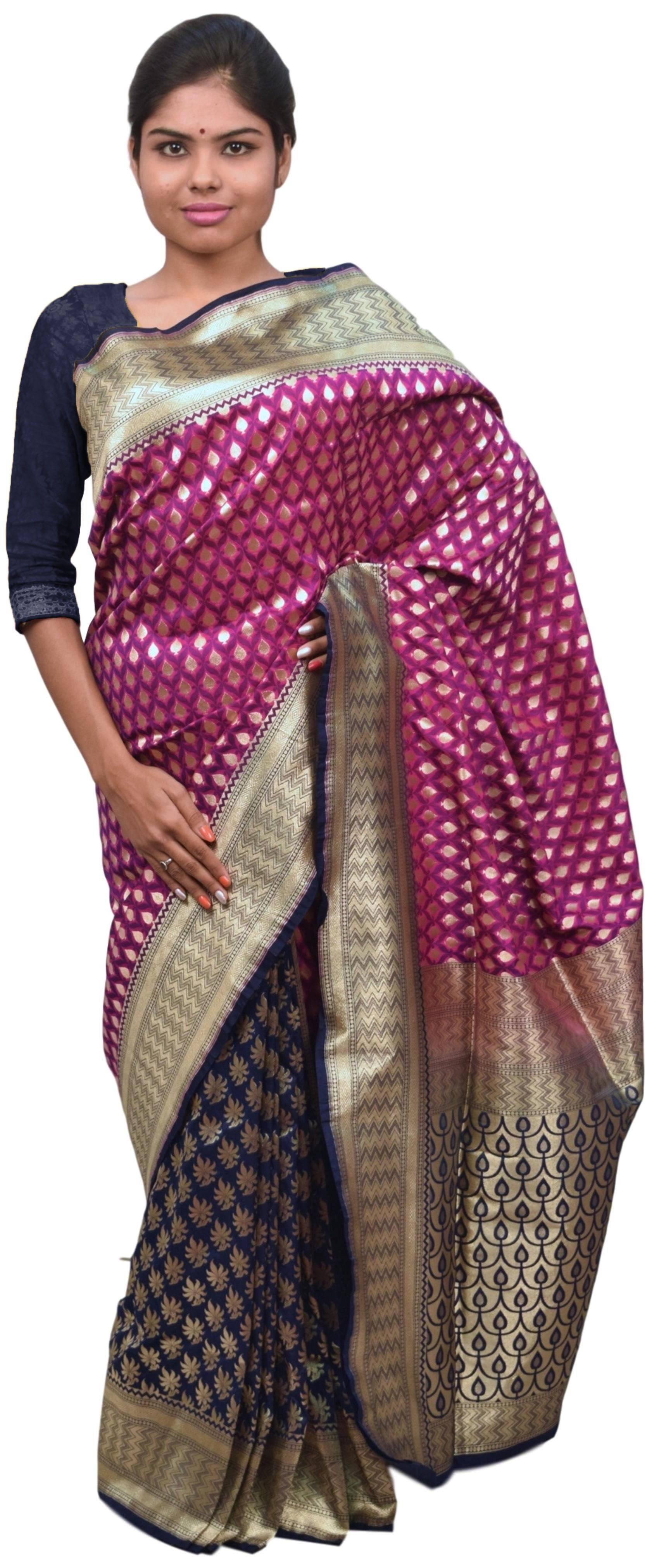 Wine & Blue Designer Bridal Hand Weaven Pure Benarasi Zari Work Saree Sari With Blouse