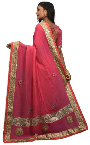 Pink Designer Georgette Sari Zari, Pearl, Mirror Thread Embroidery Work Saree AKSAC455
