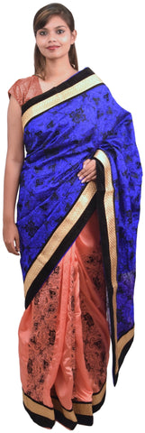 Gajari & Blue Designer Silk Hand Embroidery Work Saree Sari