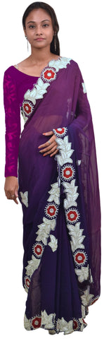Purple Designer Georgette (Viscos) Thread Beads Pearl Stone Hand Embroidery Work Saree Sari