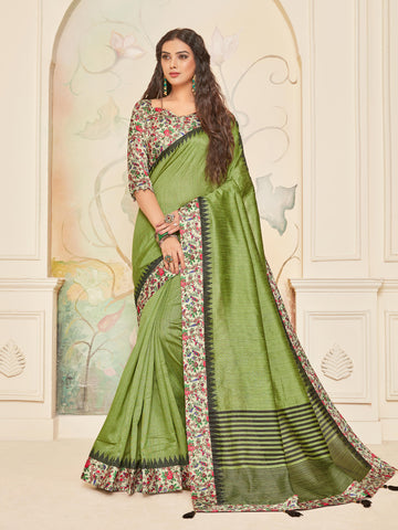 Green Jute Silk Digital Printed Border Saree Sari