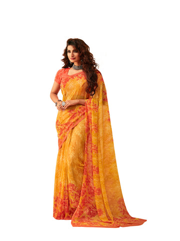 Yellow Georgette Printed Designer Saree Sari