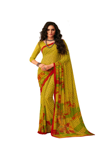 Green Georgette Printed Designer Saree Sari