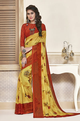 Yellow & Red Georgette Printed Designer Saree Sari