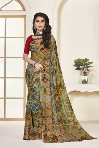 Multi-Colour Georgette Printed Designer Saree Sari