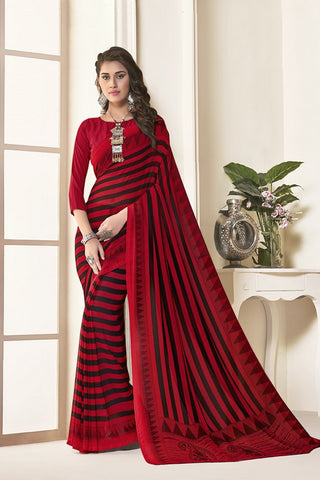Red Georgette Printed Designer Saree Sari