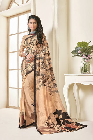 Peach Georgette Printed Designer Saree Sari
