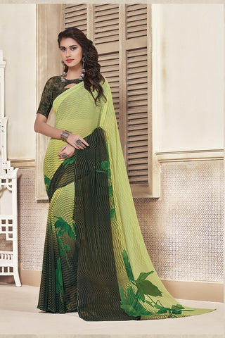 Green & Black Georgette Printed Designer Saree Sari