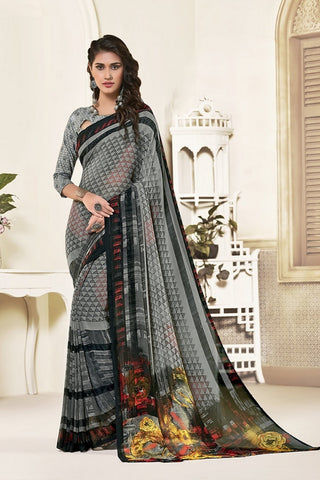 Grey Georgette Printed Designer Saree Sari