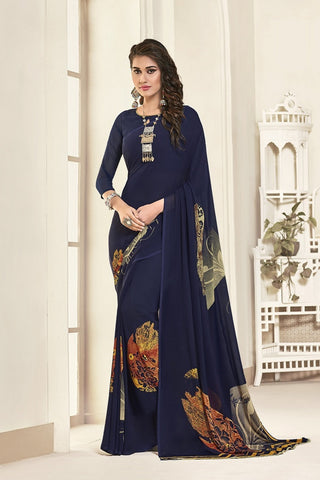 Navy Blue Georgette Printed Designer Saree Sari