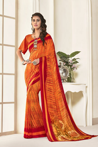 Orange Georgette Printed Designer Saree Sari