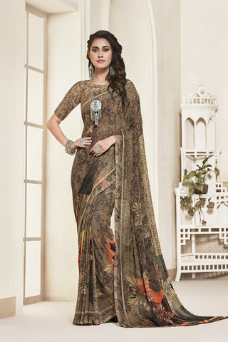 Brown Georgette Printed Designer Saree Sari