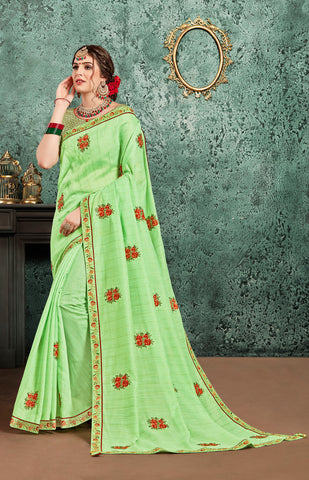 Green Poly Silk Embroidered Heavy Work Saree Sari
